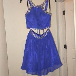 Blue 2 Piece Homecoming Dress